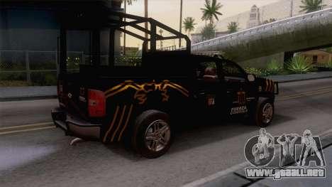 Chevrolet Silverado de la Fuerza Coahuila para GTA San Andreas vista posterior izquierda