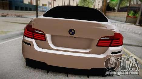 BMW M5 F10 para GTA San Andreas vista hacia atrás