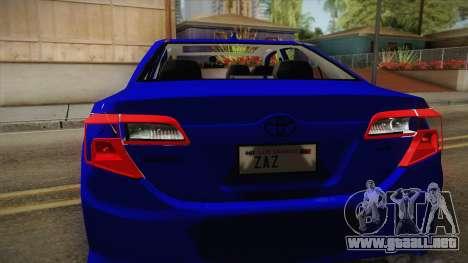 Toyota Camry 2013 para la visión correcta GTA San Andreas