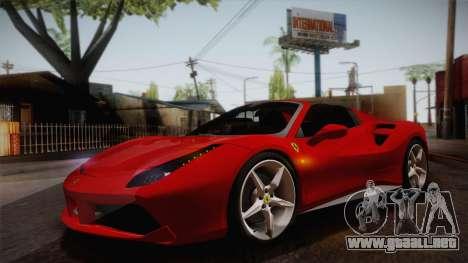 Ferrari 488 Spider para visión interna GTA San Andreas