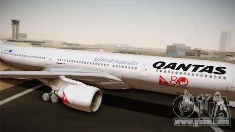 Airbus A330-300 Qantas 80 Years para GTA San Andreas vista posterior izquierda