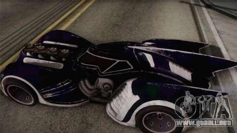 Batman Arkham Asylum Batmobile para GTA San Andreas vista posterior izquierda