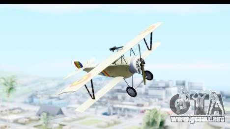 Nieuport 11 Bebe - Nr.865 Romania para GTA San Andreas vista posterior izquierda