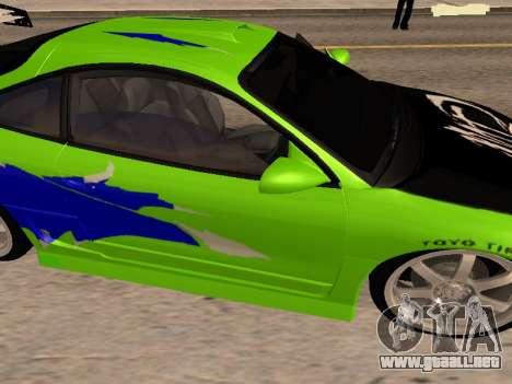 Mitsubishi Eclipse The Fast and the Furious para la visión correcta GTA San Andreas