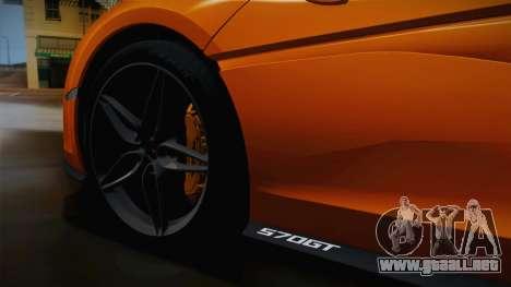 McLaren 570GT 2016 para GTA San Andreas vista hacia atrás