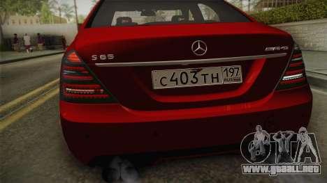 Mercedes-Benz W221 S65 Stance v2 para la visión correcta GTA San Andreas
