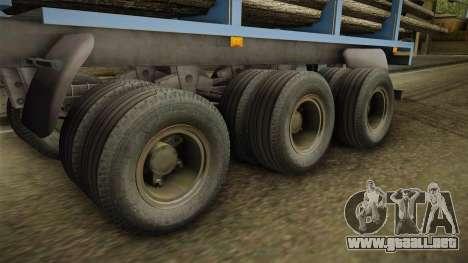 MAZ 99864 Remolque v1 para GTA San Andreas vista hacia atrás