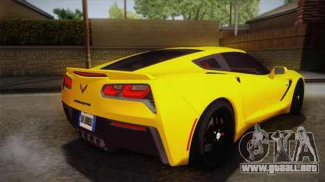 Chevrolet Corvette Stingray 2015 para GTA San Andreas left