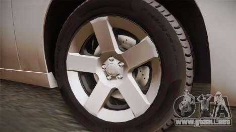 Dodge Charger 2013 Undercover para GTA San Andreas vista hacia atrás