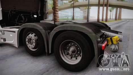 Mercedes-Benz Actros Mp4 6x2 v2.0 Steamspace para la visión correcta GTA San Andreas