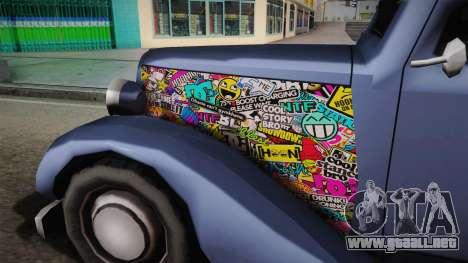 Hustler Old Sticks para GTA San Andreas vista hacia atrás