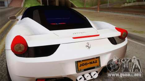 Ferrari 458 Italia para GTA San Andreas vista hacia atrás