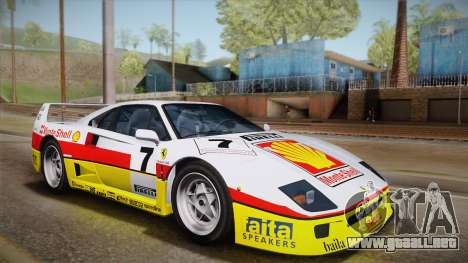 Ferrari F40 (US-Spec) 1989 HQLM para GTA San Andreas vista hacia atrás