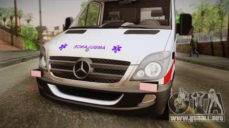 Mercedes-Benz Sprinter 2012 SA EMS Alliance para GTA San Andreas vista posterior izquierda