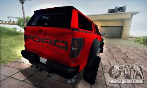 Ford F150 Raptor Long V12 para GTA San Andreas vista posterior izquierda