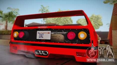 Ferrari F40 (US-Spec) 1989 HQLM para GTA San Andreas vista posterior izquierda