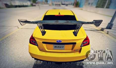 Subaru WRX STI S207 NBR CHALLENGE YELLOW EDITION para la visión correcta GTA San Andreas