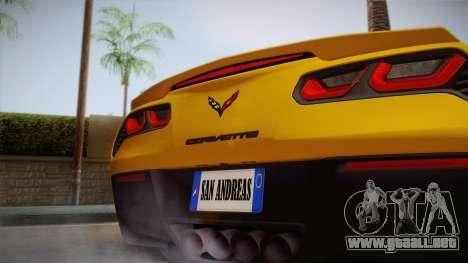Chevrolet Corvette Stingray 2015 para la visión correcta GTA San Andreas