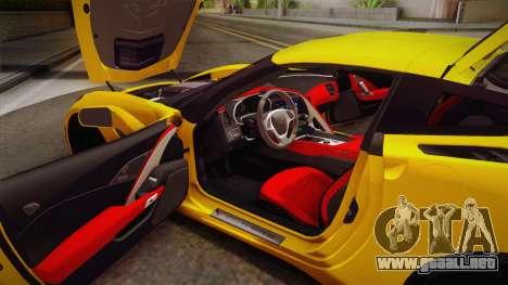 Chevrolet Corvette Stingray 2015 para vista lateral GTA San Andreas