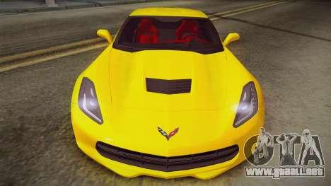 Chevrolet Corvette Stingray 2015 para GTA San Andreas vista posterior izquierda