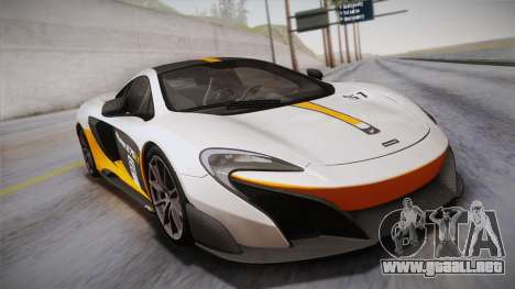 McLaren 675LT 2015 10-Spoke Wheels para vista inferior GTA San Andreas