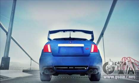 Subaru Impreza WRX STI 2011 para GTA San Andreas vista posterior izquierda
