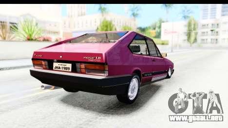 Volkswagen Passat Pointer GTS 1.8 1988 para GTA San Andreas vista posterior izquierda