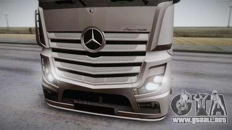Mercedes-Benz Actros Mp4 6x2 v2.0 Steamspace para GTA San Andreas vista posterior izquierda