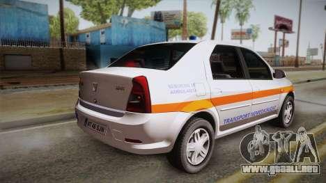 Dacia Logan Facelift Ambulanta v3 para GTA San Andreas left