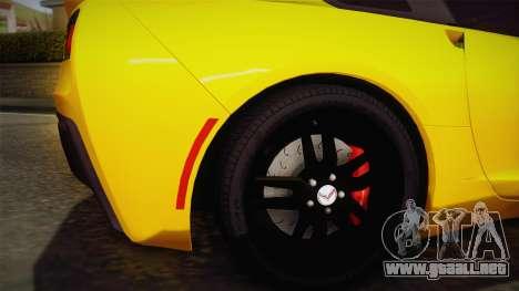 Chevrolet Corvette Stingray 2015 para GTA San Andreas vista hacia atrás