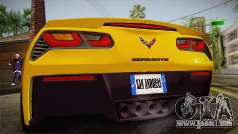 Chevrolet Corvette Stingray 2015 para visión interna GTA San Andreas