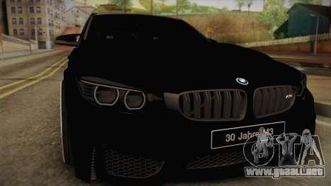 BMW M3 F30 para GTA San Andreas vista posterior izquierda