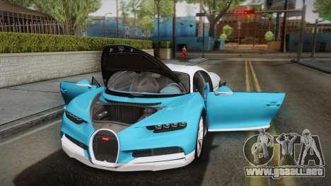 Bugatti Chiron 2017 v2.0 Korean Plate para la vista superior GTA San Andreas