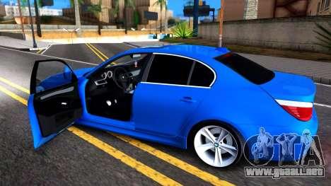 BMW E60 520D M Technique para GTA San Andreas vista hacia atrás