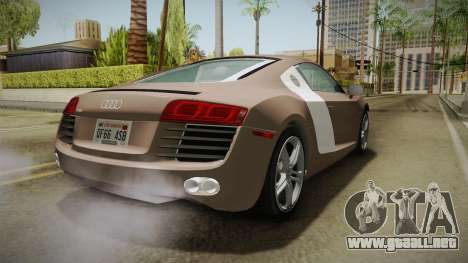 Audi R8 Coupe 4.2 FSI quattro US-Spec v1.0.0 v4 para la visión correcta GTA San Andreas
