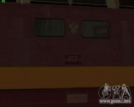 Locomotora de pasajeros CHS4t-521 para GTA San Andreas vista hacia atrás