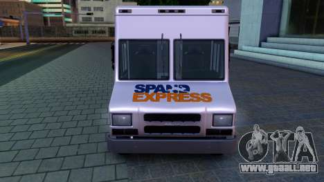 GTA IV Brute Boxville with SpandEx livery para GTA San Andreas left