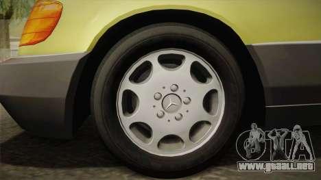 Mercedes-Benz 500SE 1991 v1.1 para GTA San Andreas vista posterior izquierda