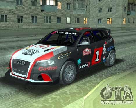 Audi RS3 Sportback Rally WRC para GTA San Andreas vista hacia atrás