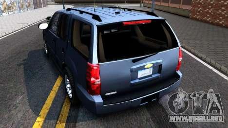 Chevy Tahoe Metro Police Unmarked 2012 para GTA San Andreas vista posterior izquierda