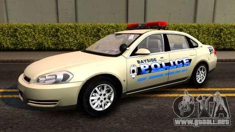 2007 Chevy Impala Bayside Police para GTA San Andreas vista posterior izquierda