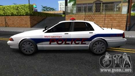 Vapid Stanier Metropolitan Police 2009 para GTA San Andreas left