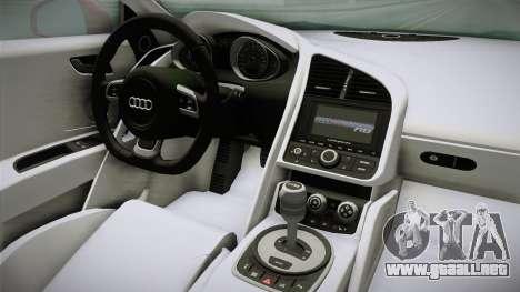 Audi R8 Coupe 4.2 FSI quattro EU-Spec 2008 YCH2 para visión interna GTA San Andreas