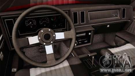 Buick GNX 1987 para visión interna GTA San Andreas