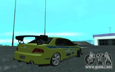 Mitsubishi Lancer Evolution VII para la visión correcta GTA San Andreas