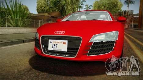 Audi R8 Coupe 4.2 FSI quattro EU-Spec 2008 YCH2 para la vista superior GTA San Andreas