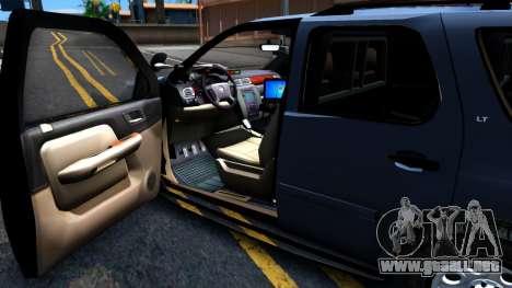 Chevy Tahoe Metro Police Unmarked 2012 para GTA San Andreas vista hacia atrás