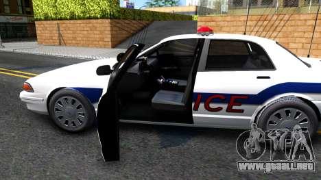 Vapid Stanier Metropolitan Police 2009 para visión interna GTA San Andreas
