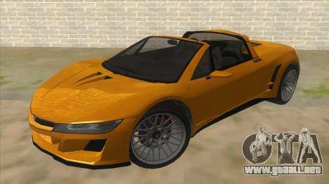 GTA V Dynka Jester Spider para GTA San Andreas vista hacia atrás