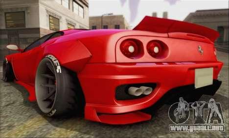 Ferrari 360 LB Work para la visión correcta GTA San Andreas
